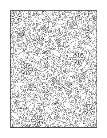 whimsical: Coloring page for adults children ok, too with whimsical swirly floral pattern, or monochrome decorative background.