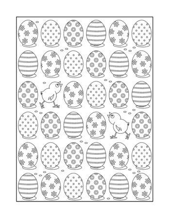 printable coloring pages: Coloring page for adults children ok, too with painted eggs and chicks, or monochrome decorative background.