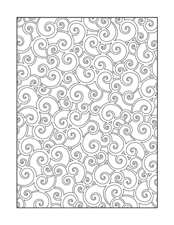 page: Coloring page for adults children ok, too with whimsical swirls pattern, or monochrome decorative background.