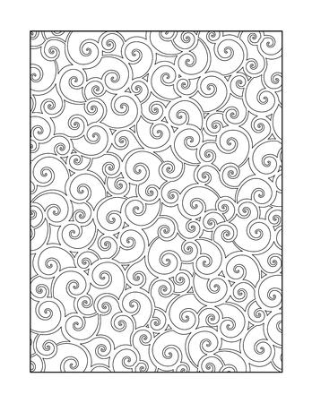 Kleurplaat voor volwassenen kinderen ok, ook met grillige wervelingenpatroon, of zwart-wit decoratieve achtergrond.