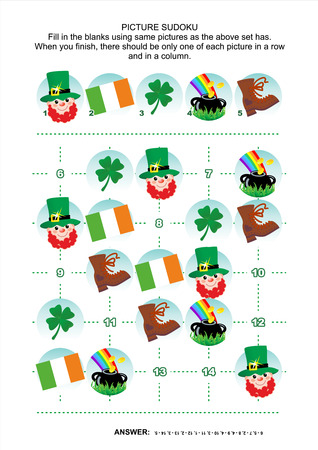 sudoku: St. Patricks Day themed picture sudoku puzzle 5x5 one block. Answer included.