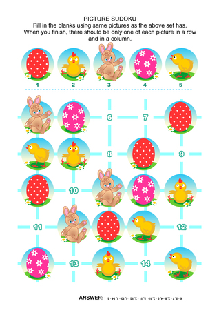 hunt: Easter holiday themed picture sudoku puzzle 5x5 one block. Answer included.