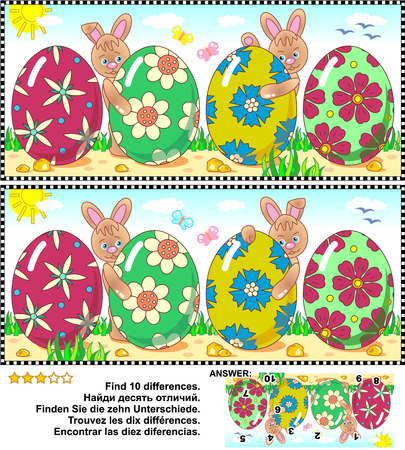 difference: Easter themed visual puzzle: Find the ten differences between the two pictures with painted eggs and bunnies. Answer included.