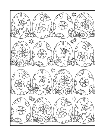printable coloring pages: Easter themed coloring page for adults and children with painted eggs, or monochrome decorative background. Illustration