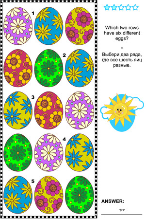 adult entertainment: Visual logic puzzle with painted eggs: Which two rows have six different eggs Answer included.