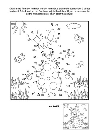 printable: Easter themed connect the dots picture puzzle and coloring page with bunny and painted egg. Answer included.