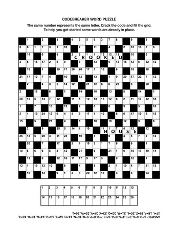 crosswords: Puzzle page with codebreaker or codeword, or code cracker word game. Answer included. Illustration