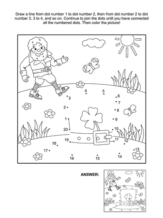 themed: Where is my hat St. Patricks Day themed connect the dots picture puzzle and coloring page with leprechaun and his hat. Answer included.