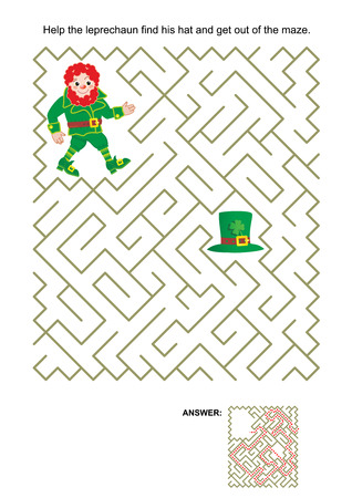 themed: St. Patricks Day themed maze game: Help the leprechaun find his hat and get out of the maze. Answer included.