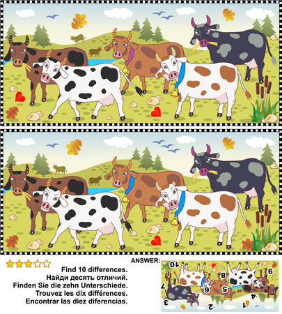 educational: Farm and autumn themed visual puzzle: Find the ten differences between the two pictures of spotted milk cows on a pasture. Answer included. Illustration