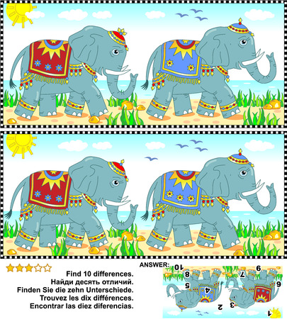 spot the difference: Visual puzzle: Find the ten differences between the two pictures of the elephants walking along the seashore. Answer included.