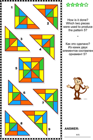 IQ training abstract visual puzzle: How is it done? Which two pieces were used to produce the pattern 5? Answer included. Ilustrace