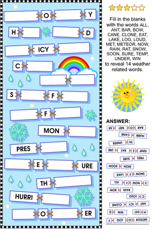 word game: Word puzzle or word game: guess the weather related words. Answer included. Illustration