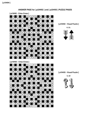 crisscross: Answer page to previous two puzzle pages (p19492 and p19493) with criss-cross and visual puzzles Illustration