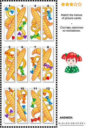 baked goods: Visual puzzle: Match the halves of cards with various baked goods and colorful candies. Answer included.