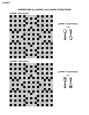 crisscross: Answer page to previous two puzzle pages (p19495 and p19496) with criss-cross and visual puzzles.
