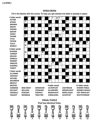 word game: Puzzle page with two puzzles: big 19x19 criss-cross word game (English language) and small visual puzzle with forks. Black and white, A4 or letter sized. Answers are on separate file named p19497.