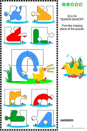 cerillos: ¿Lo que falta? rompecabezas educativo visual para aprender con la diversión de las letras del alfabeto Inglés: letra Q (Q es para cuac-cuac). Respuesta contenida.