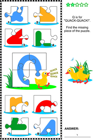 match: Whats missing? Visual educational puzzle to learn with fun the letters of English alphabet: letter Q (Q is for quack-quack). Answer included.