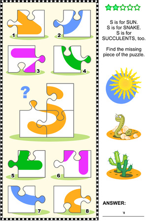 literate: Whats missing? Visual educational puzzle to learn with fun the letters of English alphabet: letter S (S is for sun, S is for snake, S is for succulents). Answer included.