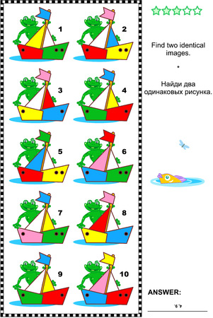 identical: Visual puzzle: Find two identical images of colorful boats. Answer included.