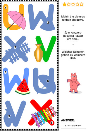 x games: Visual educational puzzle to learn with fun the letters of English alphabet: Match pictures of letters U (umbrella), V (vase), W (watermelon), X (xylophone) to their shadows. Answer included.