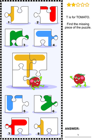 riddles: Whats missing? Visual educational puzzle to learn with fun the letters of English alphabet: letter T (T is for tomato). Answer included.