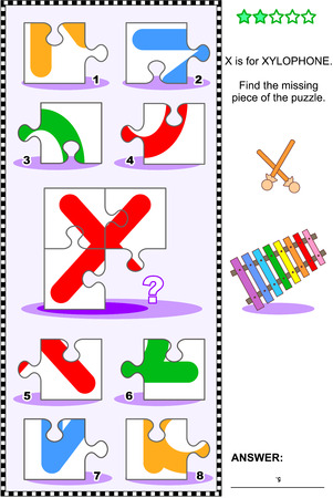 What's missing? Visual educational puzzle to learn with fun the letters of English alphabet: letter X (X is for xylophone). Answer included.