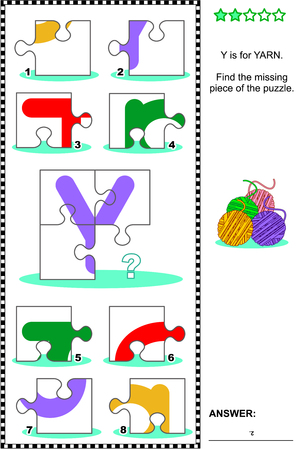 literate: Whats missing? Visual educational puzzle to learn with fun the letters of English alphabet: letter Y (Y is for yarn). Answer included. Illustration
