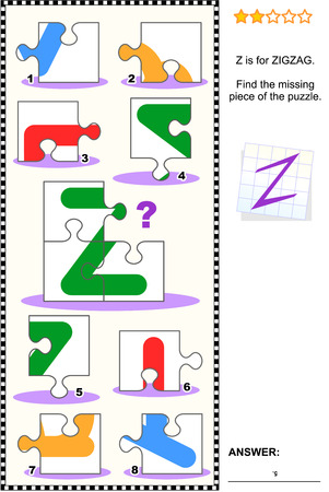 What's missing? Visual educational puzzle to learn with fun the letters of English alphabet: letter Z (Z is for zigzag). Answer included.