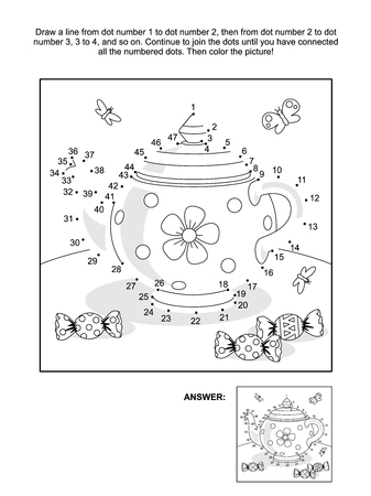Dot-to-dot en kleurplaat met thee pot en snoep Stock Illustratie