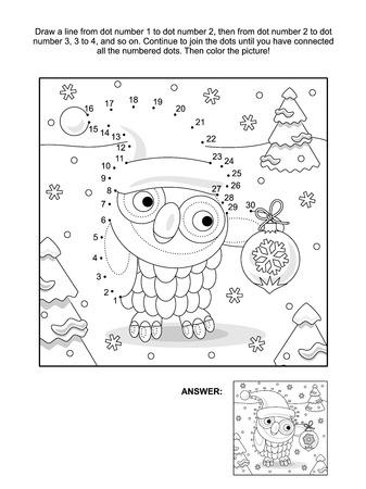 Winter holiday themed connect the dots picture puzzle and coloring page with owl wearing santa cap. Answer included.