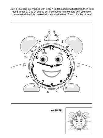 printable coloring pages: Alphabet connect the dots picture puzzle and coloring page with alarm clock. Answer included.