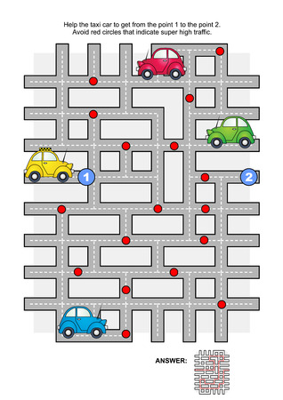 Road maze game: Help the yellow taxi car to get from the point 1 to the point 2. Avoid red circles that indicate super high traffic. Answers included. Illustration