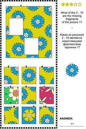 Visual logic puzzle: What of the 2-10 are the missing fragments of the picture 1? Answer included.