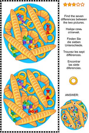 riddles: Visual puzzle: Find the seven differences between the two pictures of baked goods and candy. Answer included. Illustration