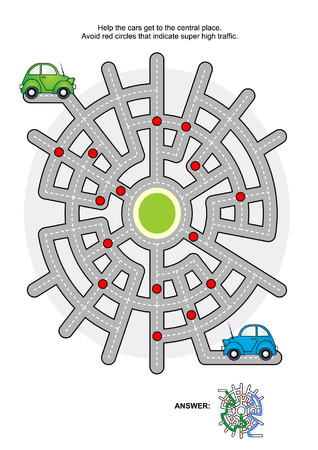 Road maze game: Help the green car and the blue car get to the central place. Avoid red circles that indicate super high traffic. Answers included. Vector Illustration