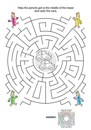 quizzes: Maze game for kids: Help the pencils get to the middle of the maze and color the cars. Answer included.