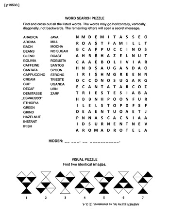sized: Puzzle page with two brain games: all about coffee themed word search puzzle (English language), and visual puzzle.  Black and white, A4 or letter sized. Answer included. Illustration