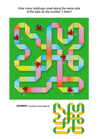 spatial: Visual puzzle to reinforce spatial abilities of the mind: How many ladybugs crawl along the same side of the tape as the number 1 does? Answer included.