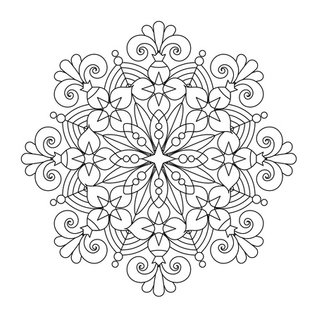whimsical: Abstract mandala or whimsical snowflake line art design or coloring page