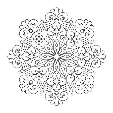 Estratto mandala o linea fiocco di neve stravagante disegno arte o da colorare