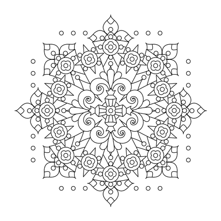 book pages: Abstract mandala or whimsical snowflake line art design or coloring page