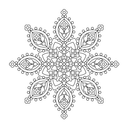 people in line: Abstract mandala or whimsical snowflake line art design or coloring page