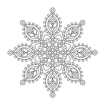 Abstracte mandala of grillige sneeuwvlok lijntekeningen ontwerp of kleurplaat Vector Illustratie