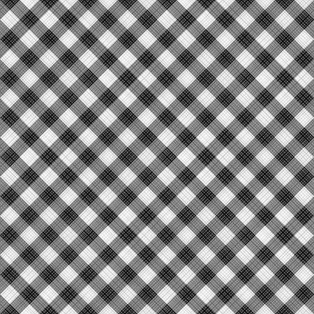 tiles texture: Seamless (you see 4 tiles) black and white diagonal gingham fabric cloth, pattern, swatch, background, texture or wallpaper.