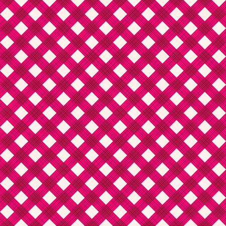 tilable: Seamless (you see 4 tiles) burgundy red diagonal gingham fabric cloth, pattern, swatch, background, texture or wallpaper. Illustration