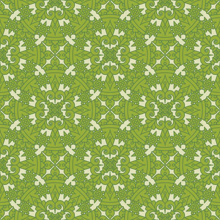 Seamless (repeatable, you see 4 tiles) highly detailed elegant vintage pattern background of green and tan colors Illustration