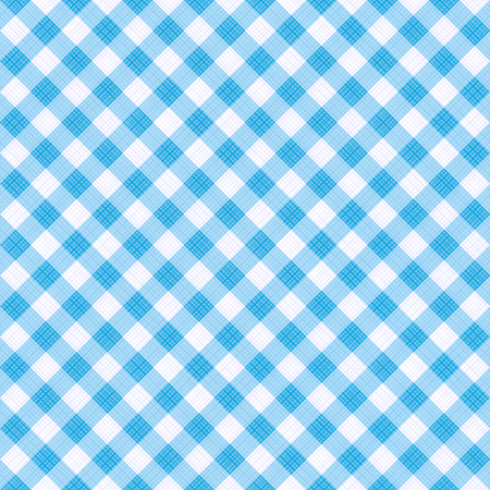 Seamless (you see 4 tiles) light blue colors diagonal gingham fabric cloth, pattern, swatch, background, texture or wallpaper. Illustration
