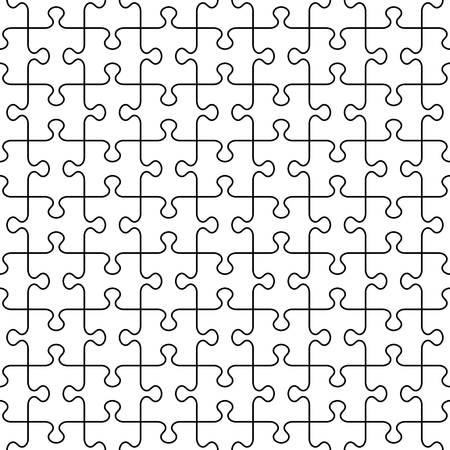tilable: Seamless (you see 16 tiles) jigsaw puzzle pattern with transparent background and black guidelines